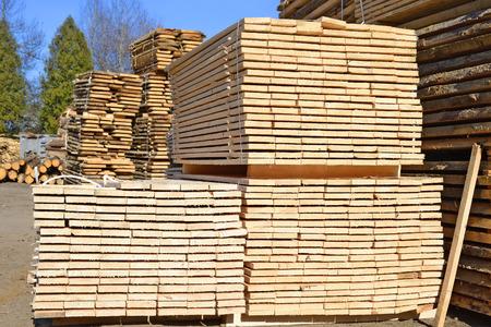 log deck: Eaves board in stacks Stock Photo