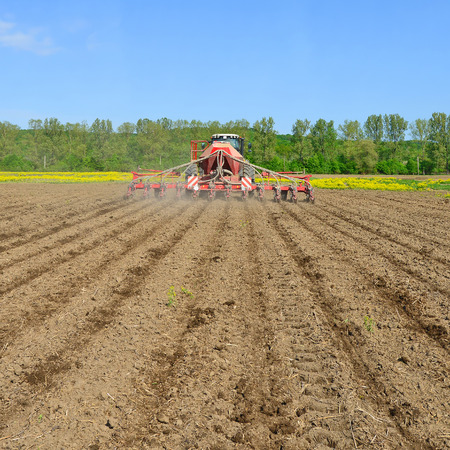 tenure: Planting corn trailed planter in the field