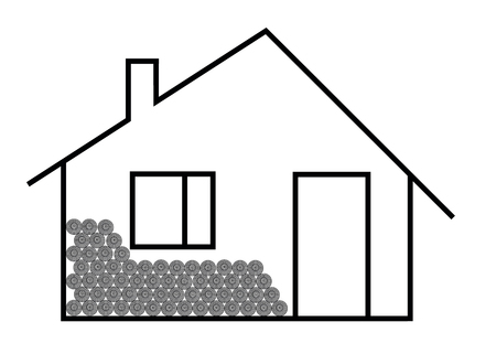 ranch house: Contour image of an dwelling house with block of wood