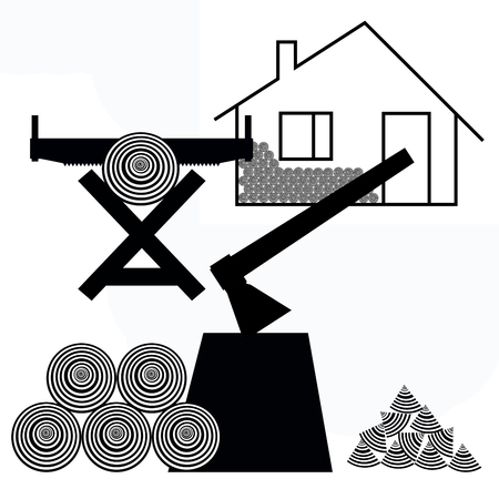dwelling house: Work on the harvesting of firewood near the dwelling house Stock Photo