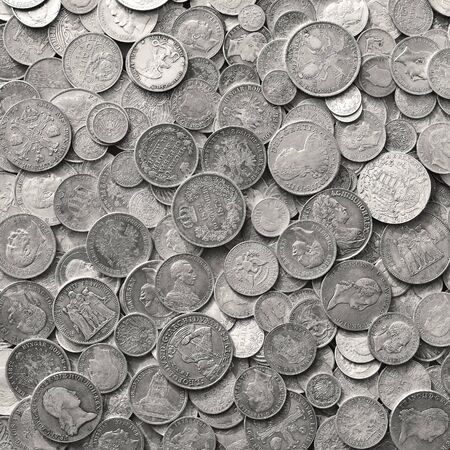 antique background: Ancient silver coins