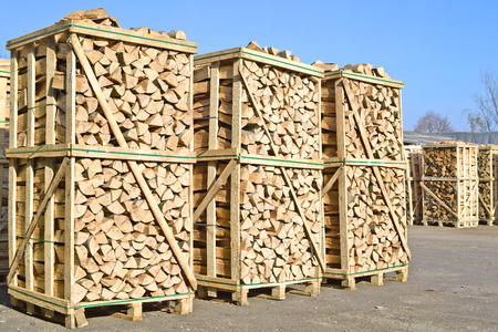 fire wood: Chipped fire wood in packing on pallets.