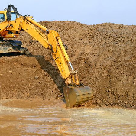 jib: On the construction pit Stock Photo