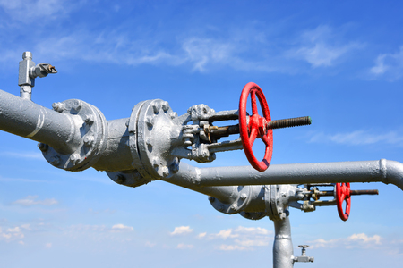 stop gate valve: Elements of piping the gas supply Stock Photo