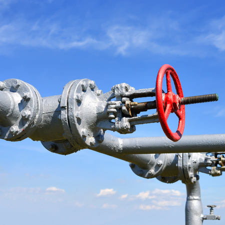 gas supply: Elements of piping the gas supply Stock Photo