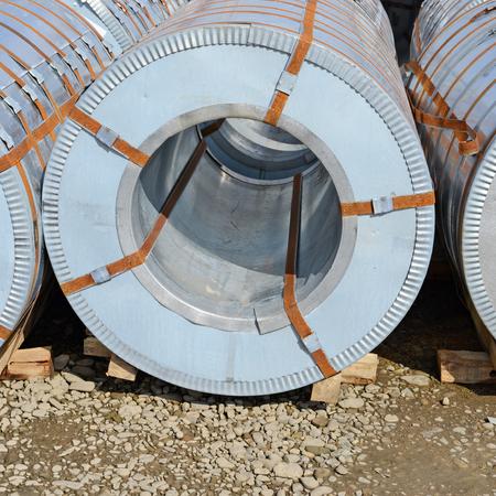 Rolled steel sheet in rolls Stock Photo