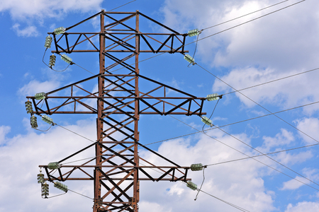 dielectric: High-voltage power line. Stock Photo