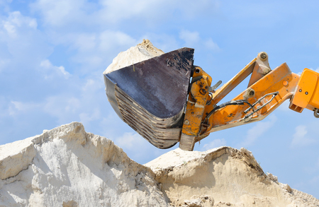 equipping: Telescopic handler in the work area Stock Photo
