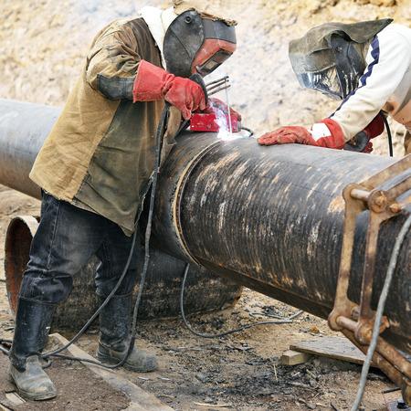 Welders on the pipeline repairs