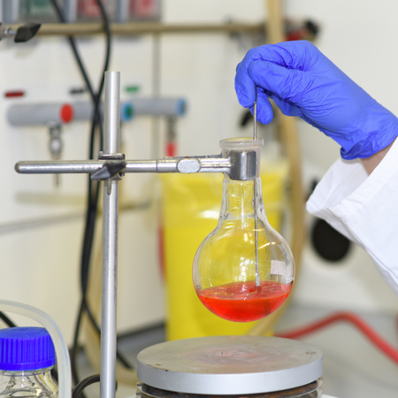 stirrer: Synthesis of new fluorescent dye. Reaction mixture in round-bottom flask mixed with magnetic stirrer. Stirring,