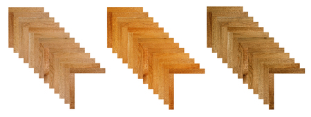 Fragment of parquet floor. Oak. Beech.  Walnut. Ash. Stock Photo