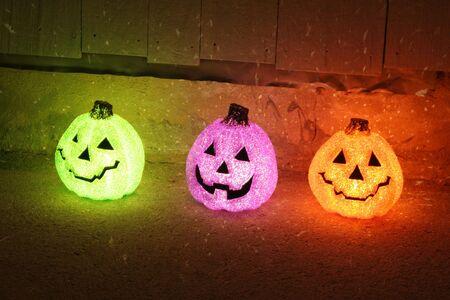 illuminated: Illuminated Jack-o-lantern Decorations Stock Photo