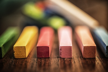 teaching: Close-up images of beautifully colored chalk sticks used by artists and students Stock Photo