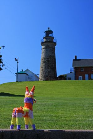pinata: Pinata visits Fairport Harbor Lighthouse Stock Photo