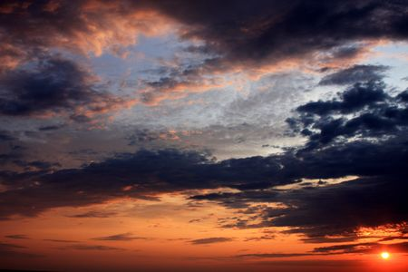 northeast ohio: Sunset and Stormy Sky at Headlands Stock Photo
