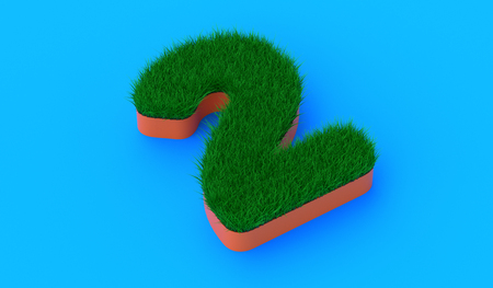 3D rendering of the number 2 on grass material. 3D number with realistic grass. Archivio Fotografico