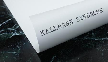 Kallmann Syndrome written on paper with marble. Medicine concept. 3D Illustration. Reklamní fotografie