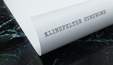 Klinefelter Syndrome written on paper with marble. Medicine concept. 3D Illustration. Reklamní fotografie