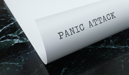Panic Attack written on paper with marble. Medicine concept. 3D Illustration.