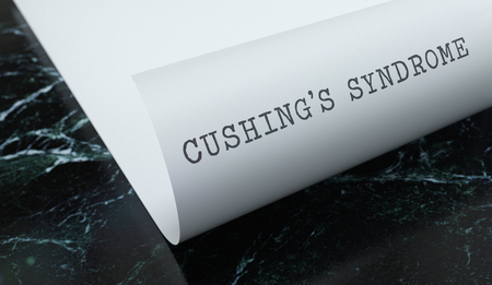 Cushings syndrome is written on paper with marble. Medicine concept. 3D Illustration.