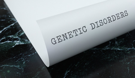 Genetic Disorders written on paper with marble. Medicine concept. 3D Illustration.