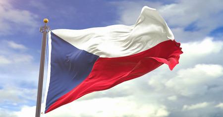 Czech Republic Flag on Sky Background. Wave And Fabric Czech Republic Flag.