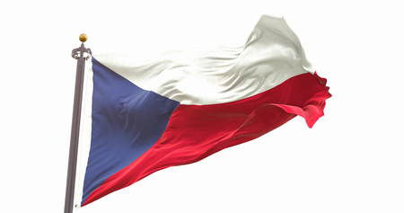 Czech Republic Flag Isolated White Background. Wave And Fabric Czech Republic Flag.