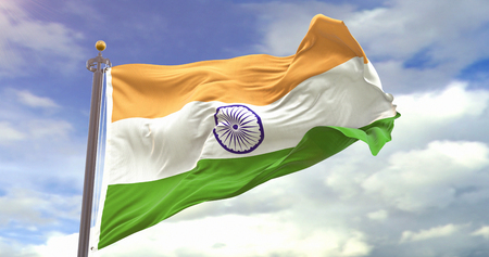 India Flag Waving On Sky Background. Wave And Fabric India Flag.