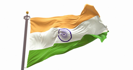India Flag Isolated on White Background. Wave And Fabric India Flag.