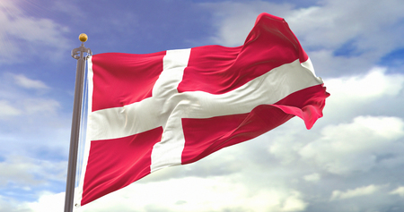 Denmark Flag Waving Wind On Sky Background. Wave And Fabric Denmark Flag.