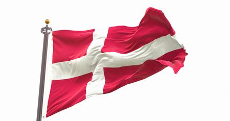 Denmark Flag Isolated On White Background. Wave And Fabric Denmark Flag.