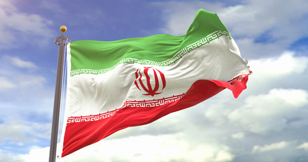Iran Flag Waving Wind On Sky Background. Wave And Fabric Iran Flag.