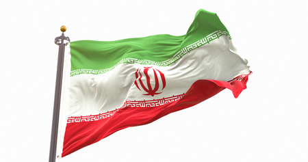 Iran Flag Waving on Wind Isolated White Background. Wave And Fabric Iran Flag. Фото со стока