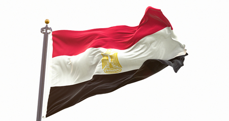 Egypt Flag Isolated on White Background. Wave And Fabric Egypt Flag. Фото со стока