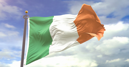 Ireland Flag Waving Wind On Sky Background. Wave And Fabric Ireland Flag.