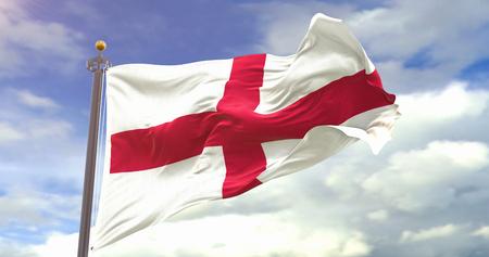 England Flag Waving Wind. Wave And Fabric England Flag. Фото со стока