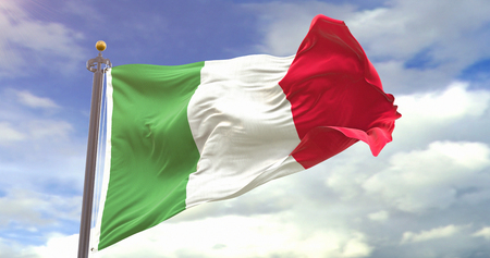 Italy Waving Wind On Sky Background. Wave And Fabric Italy Flag.