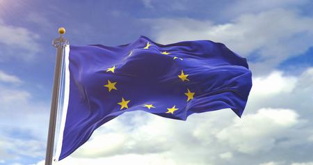 Europe Flag Waving Wind. Wave And Fabric Europe Flag.