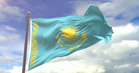Kazakhstan Flag Waving Wind On Sky Background. Wave And Fabric Kazakhstan Flag.