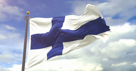 Finland Flag Sky Background. Wave And Fabric Finland Flag. Фото со стока
