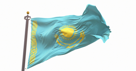Kazakhstan Flag Isolated on White Background. Wave And Fabric Kazakhstan Flag.