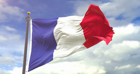 France Flag Waving Wind On Sky Background. Wave And Fabric France Flag.