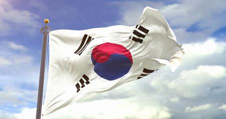 South Korea Flag Waving Wind On Sky Background. Wave And Fabric South Korea Flag. Фото со стока