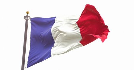 France Flag Waving Wind Isolated on White Background. Wave And Fabric France Flag. Фото со стока