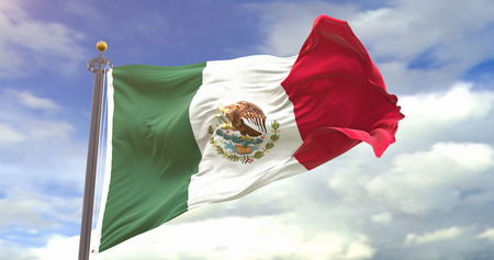 Mexico Flag Waving Wind On Sky Background. Wave And Fabric Mexico Flag.