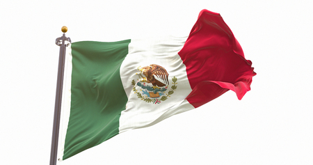 Mexico Flag Isolated on White Background. Wave And Fabric Mexico Flag.