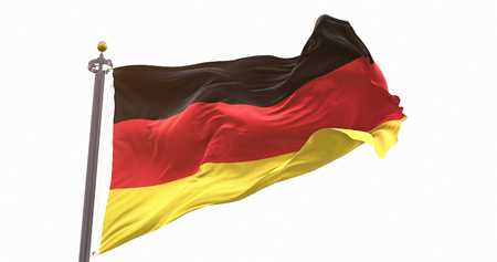 German Flag Isolated on White Background. Wave And Fabric German Flag.
