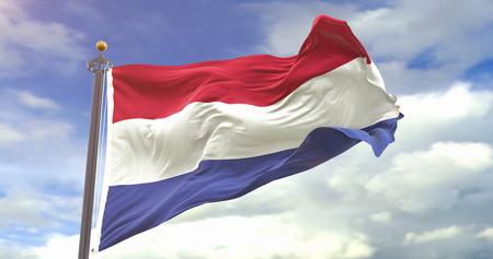 Netherlands Flag Waving Wind On Sky Background. Wave And Fabric Netherlands Flag.