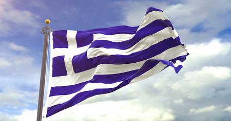 Flag Waving Wind On Sky Background. Wave And Fabric Greece Flag. Фото со стока