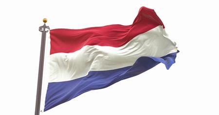 Netherlands Flag Isolated on White Background. Wave And Fabric Netherlands Flag.
